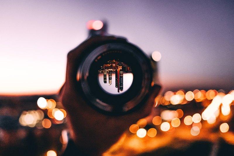 lens image inverted cityscape unique vision